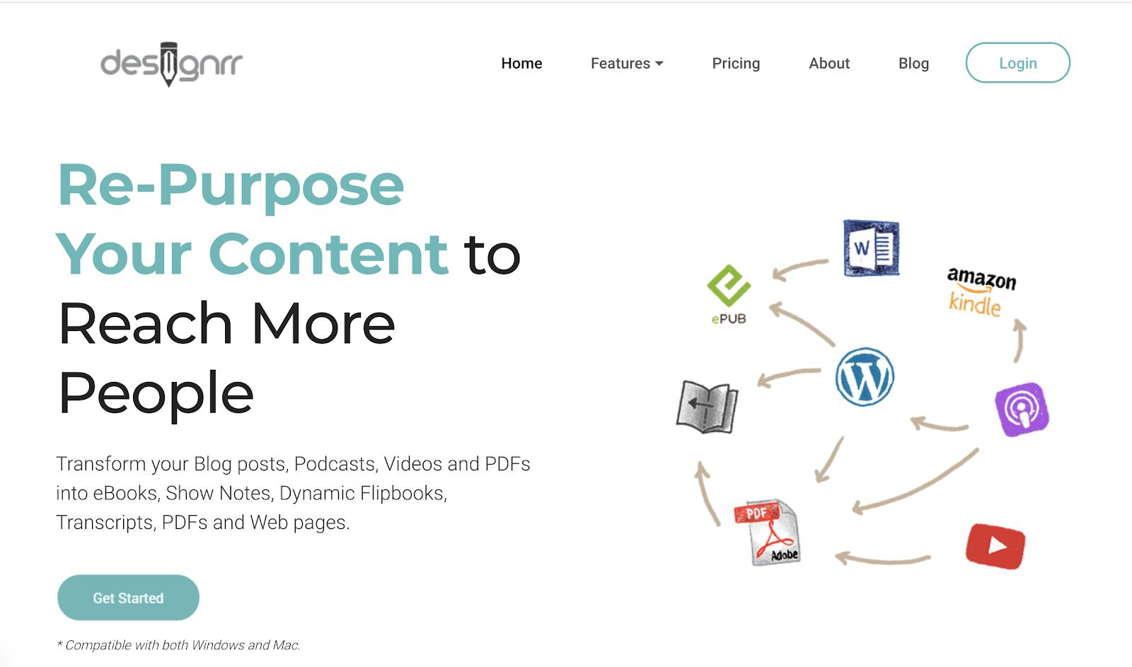 Designrr Homepage Screenshot (eBook Designer Tool)