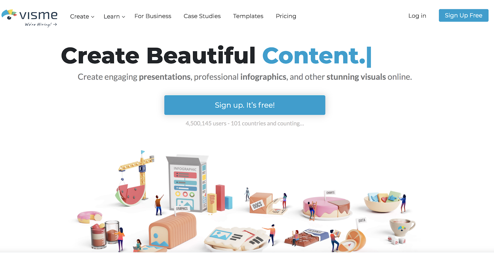 Visme Homepage Screenshot (eBook Designer Tool)
