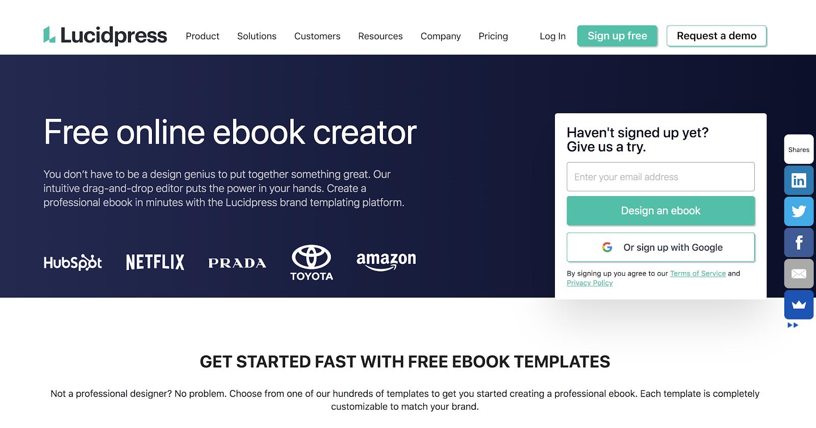 Lucidpress Homepage Screenshot (eBook Designer Tool)