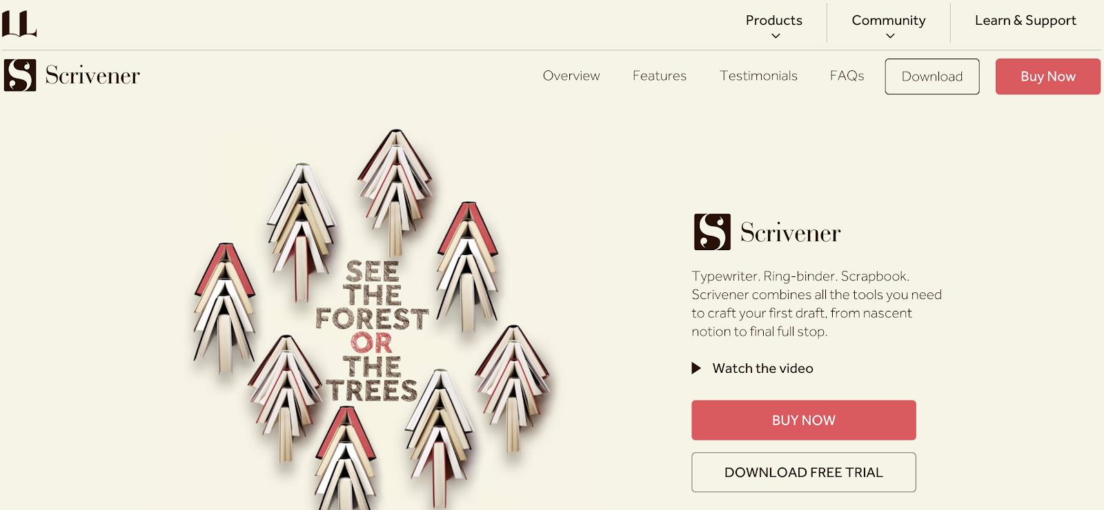 Scrivener Homepage Screenshot (eBook Designer Tool)