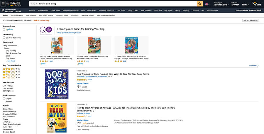 Screenshot of competitors' research (Amazon book search results)