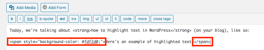 Screenshot with a highlighted text attribute (background color) in WordPress Classic