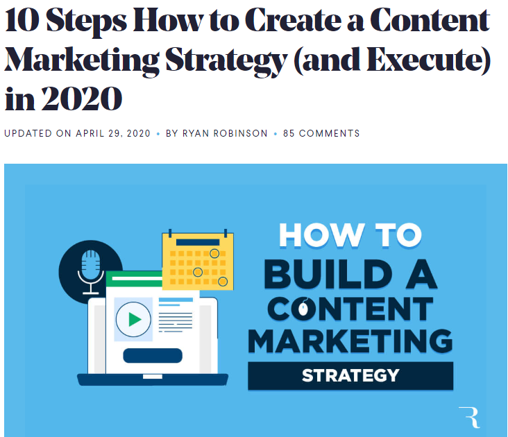 Example blog headline (Creating a screenshot of content strategy)
