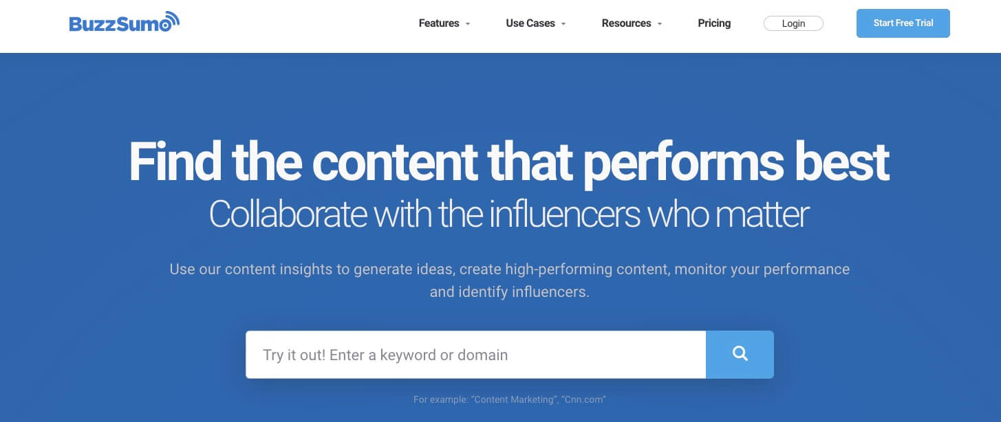 Buzzsumo Homepage Screenshot (Tool for Competitor Research)