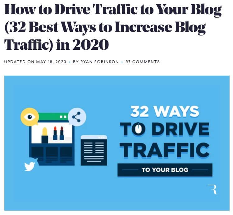 Прыклад загалоўку блога (скрыншот ваджэння трафіку)