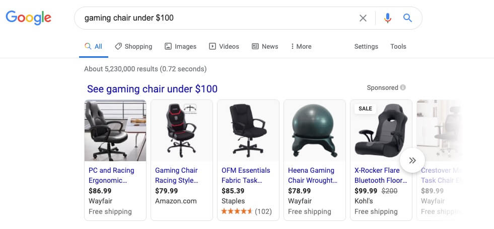Gaming Chairs Search Example Screenshot of More Targeted Topics