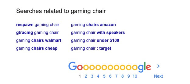 Google Related Search Terms at the Bottom of a Results Page