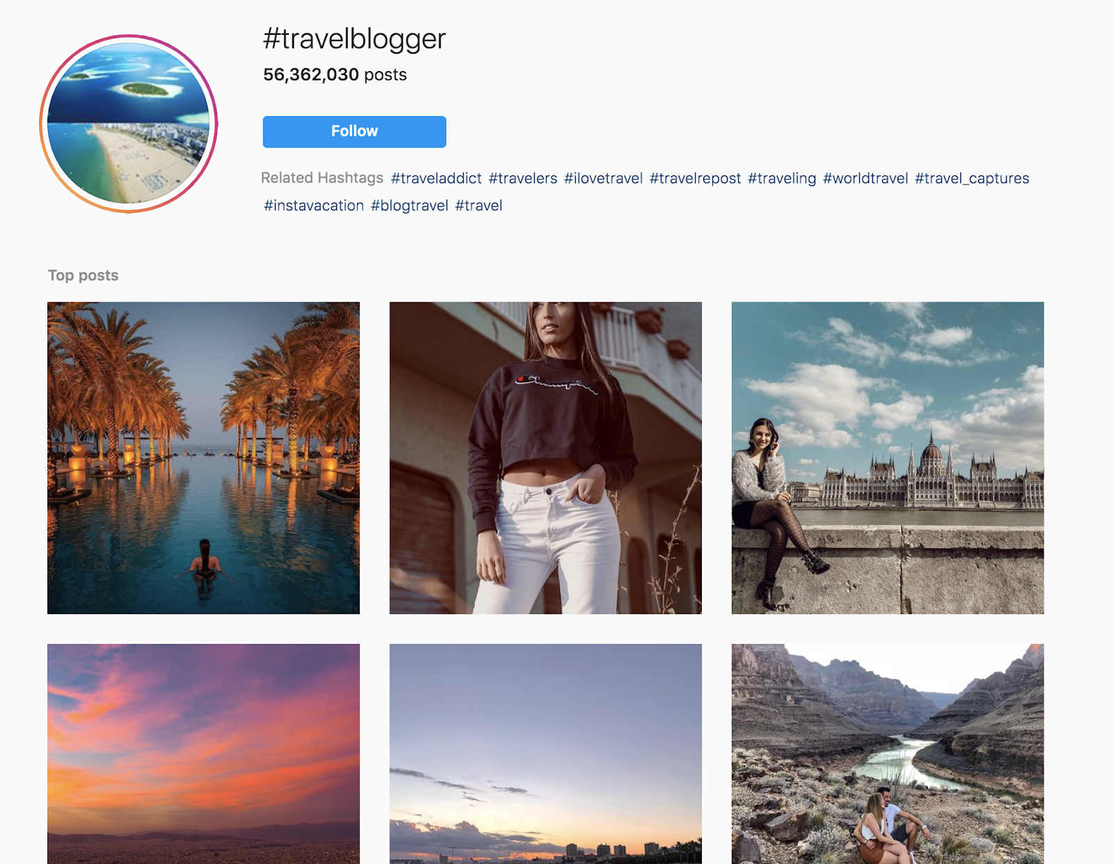 Using Instagram to Find Your Target Audience for Your Blog (Travel Blogging Screenshot)