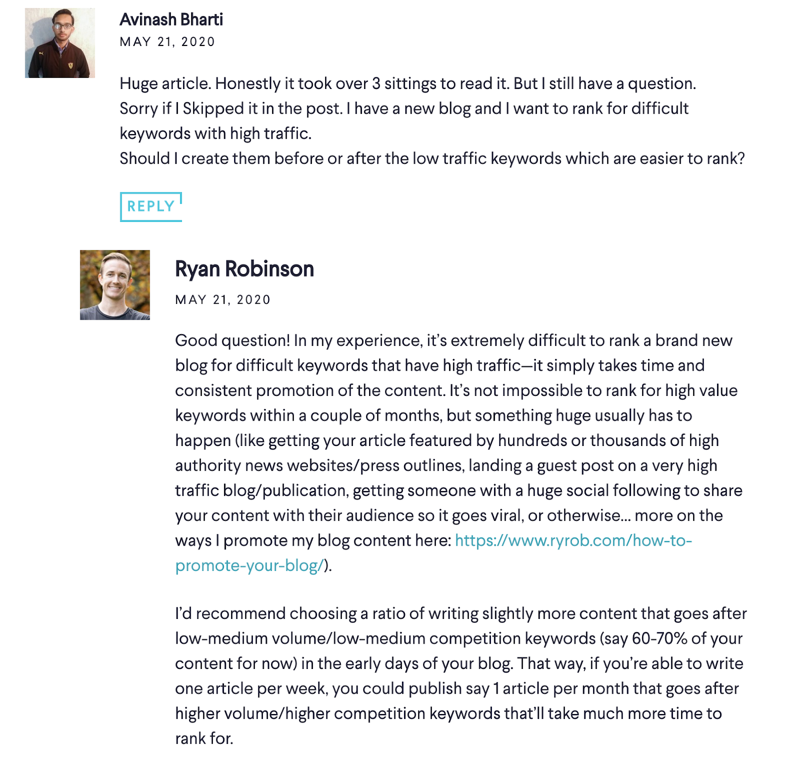 Screenshot of Blog Comment to Learn From (on ryrob)