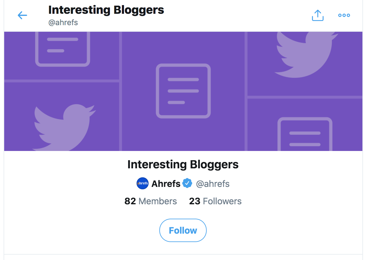 Screenshot of Interesting Bloggers Twitter List by Ahrefs (Example)