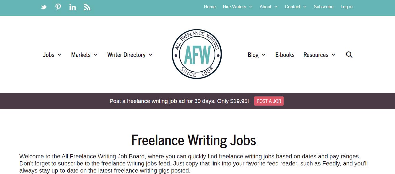 All Freelance Writing Homepage Screenshot