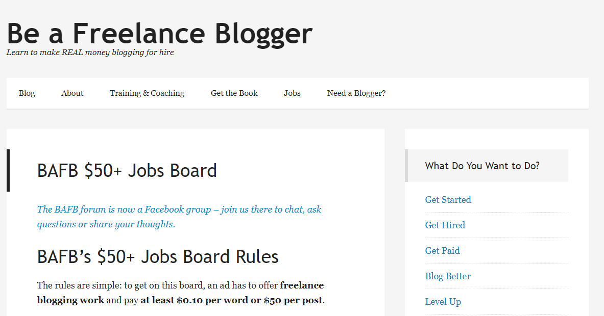 Be a Freelance Blogger (Screenshot) and Blogging Jobs Board Example