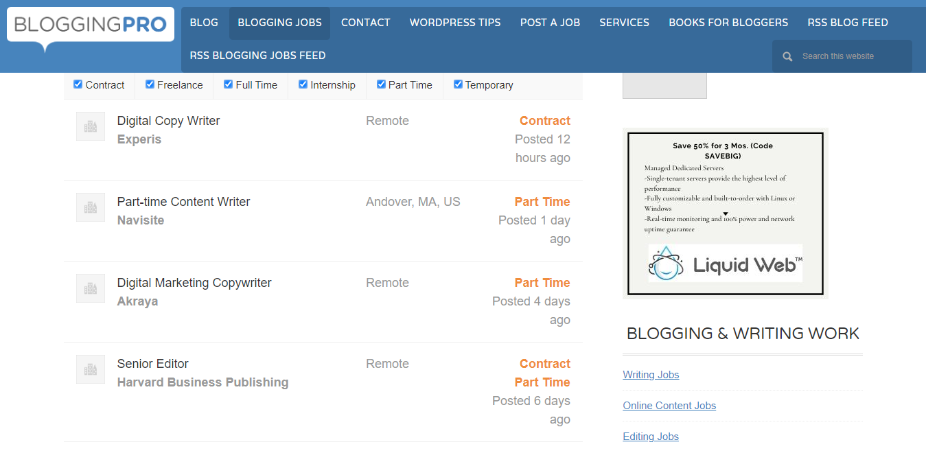Examples of Open Listings (Screenshot of Blogging Pro)