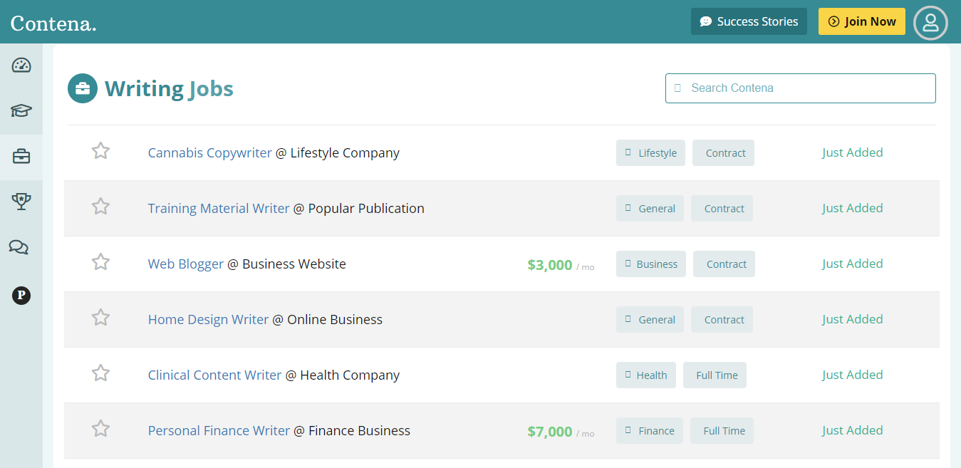 Sampling of Blogging Jobs Available on Contena Right Now