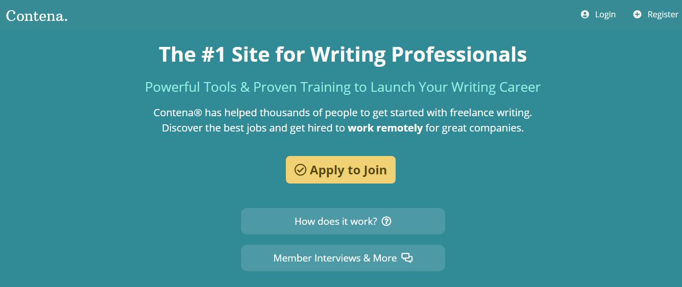 Contena Homepage Screenshot (Top Website for Blogging Jobs)