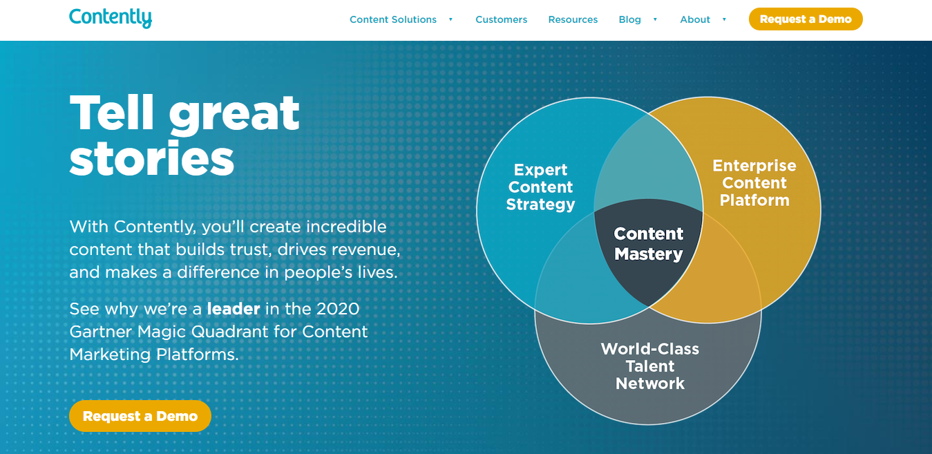Contently Homepage Screenshot (Portfolio Site Example)