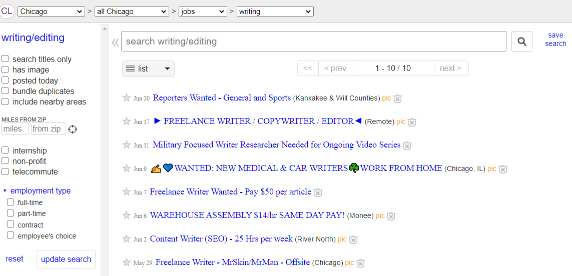 Craigslist Screenshot (Freelance Writing and Blogging Work Examples)