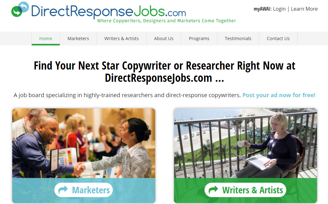 Direct Response Jobs Board (Screenshot)