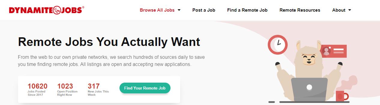 Dynamite Jobs Homepage Screenshot of Listings