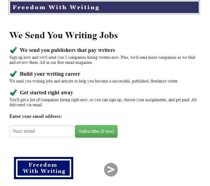 Freedom with Writing (Job Board Screenshot)