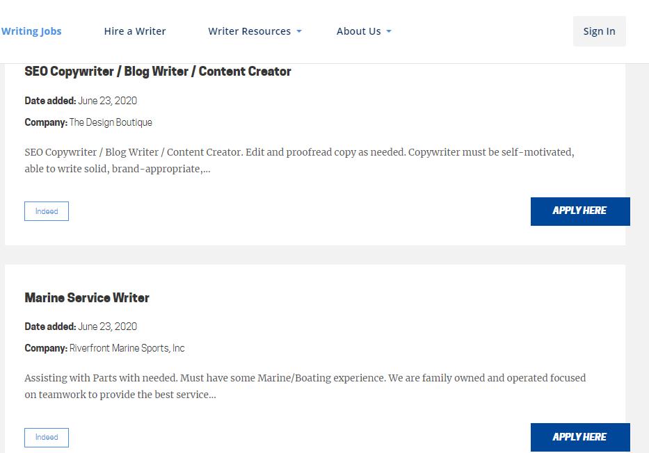 Screenshot of Open Freelance Writing Jobs