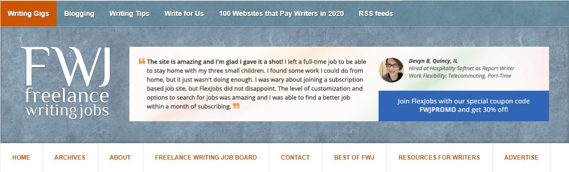 Freelance Writing Jobs Homepage Screenshot (Example)