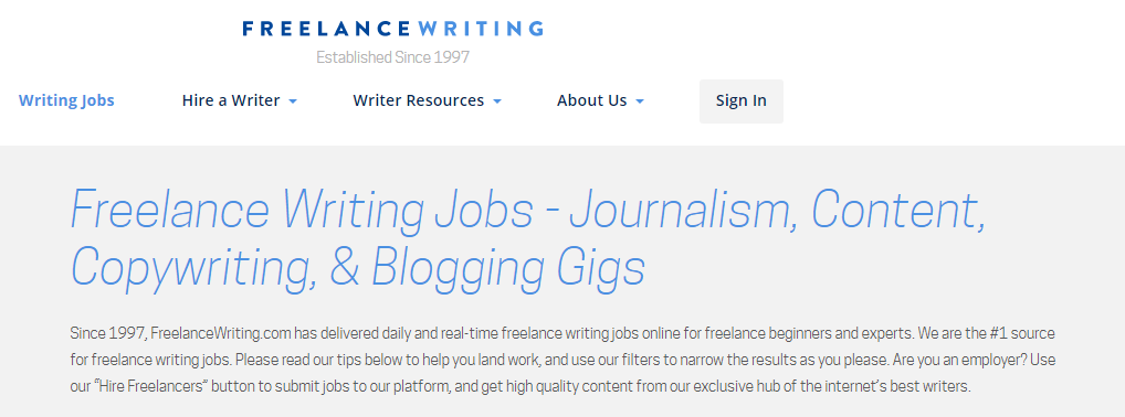 Freelance Writing Homepage Screenshot
