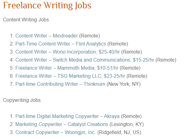 Available Freelance Writing and Blogging Jobs on FWJ (Screenshot)