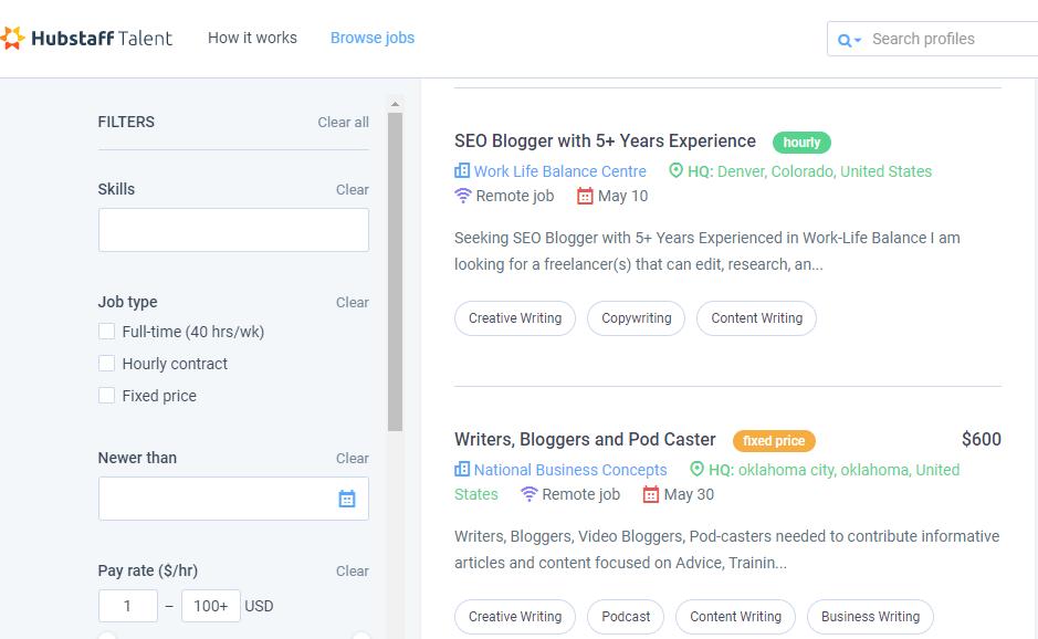 HubStaff Talent Job Board Screenshot of Available Listings