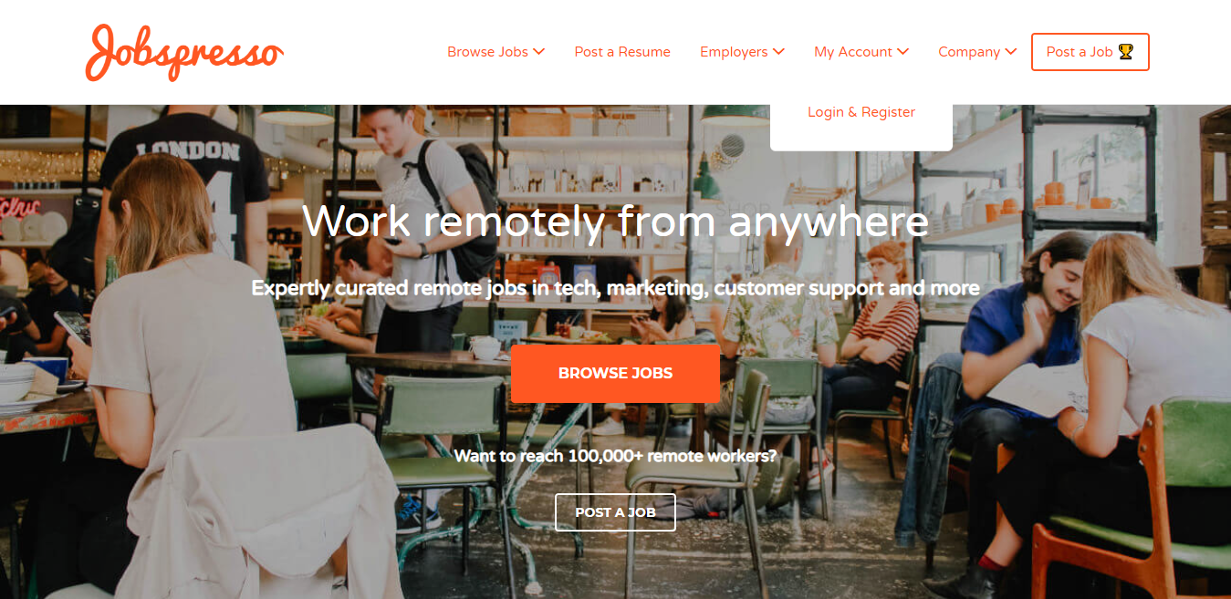 Jobspresso Homepage Screenshot Example