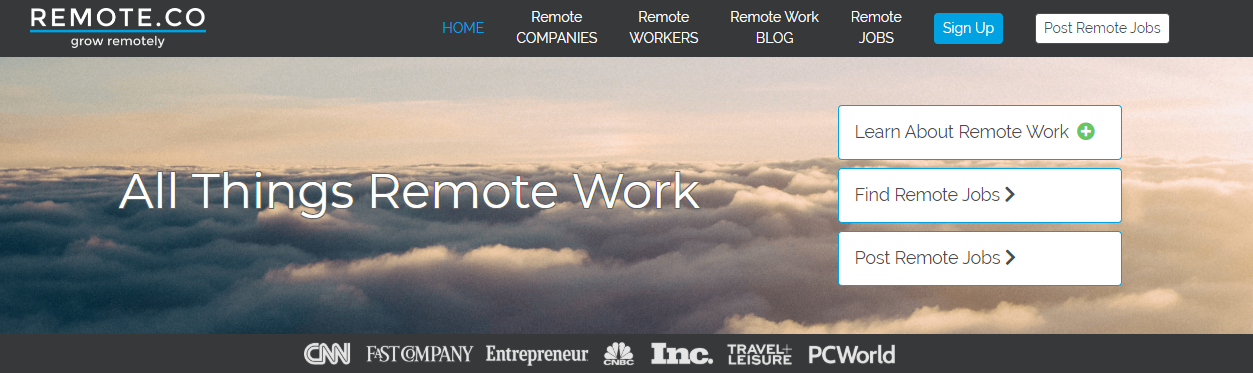 RemoteCo Screenshot of Available Remote Blogging Jobs