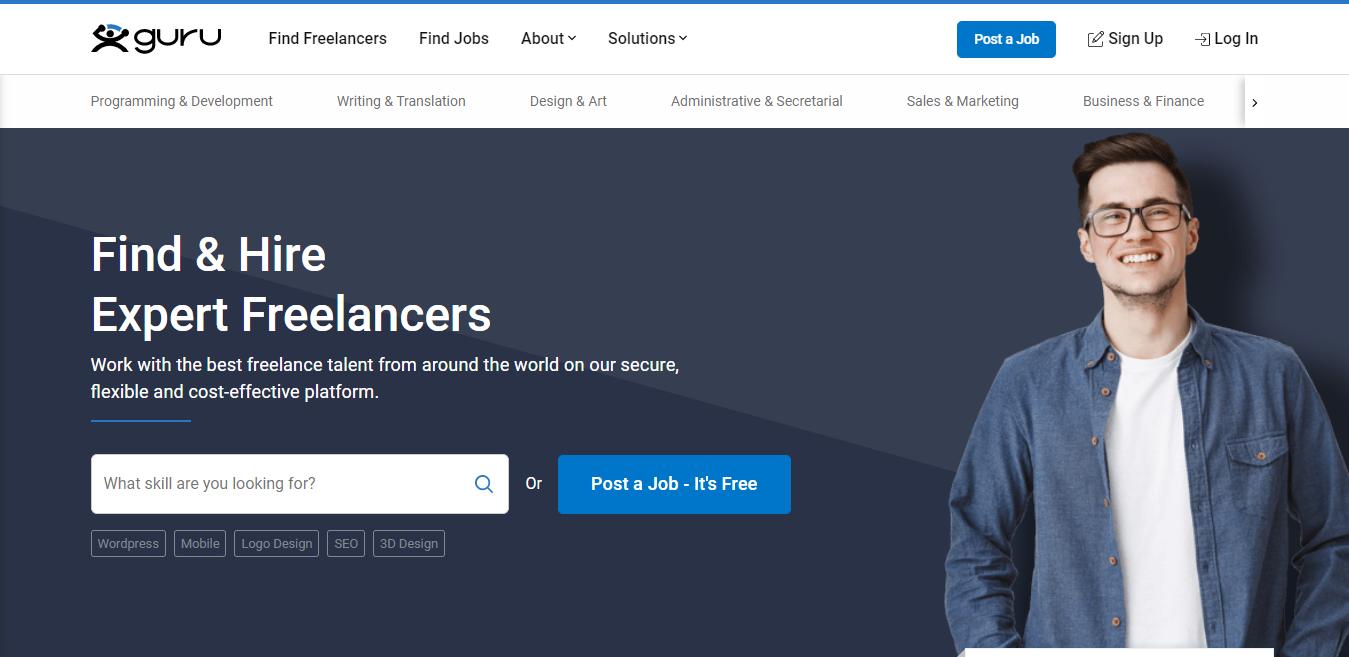 Guru Screenshot (Site for Finding Blogging Work)