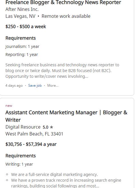 Indeed (Screenshot of Open Blogging Job Example)