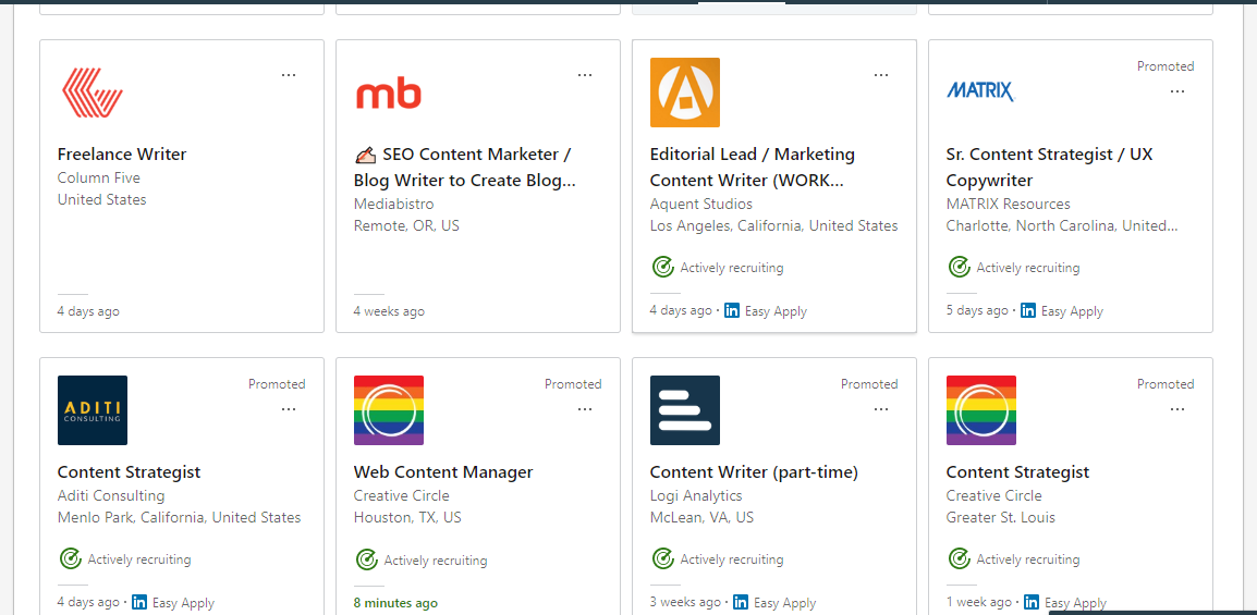 Screenshot of LinkedIn Blogging Jobs and Freelance Writing Openings