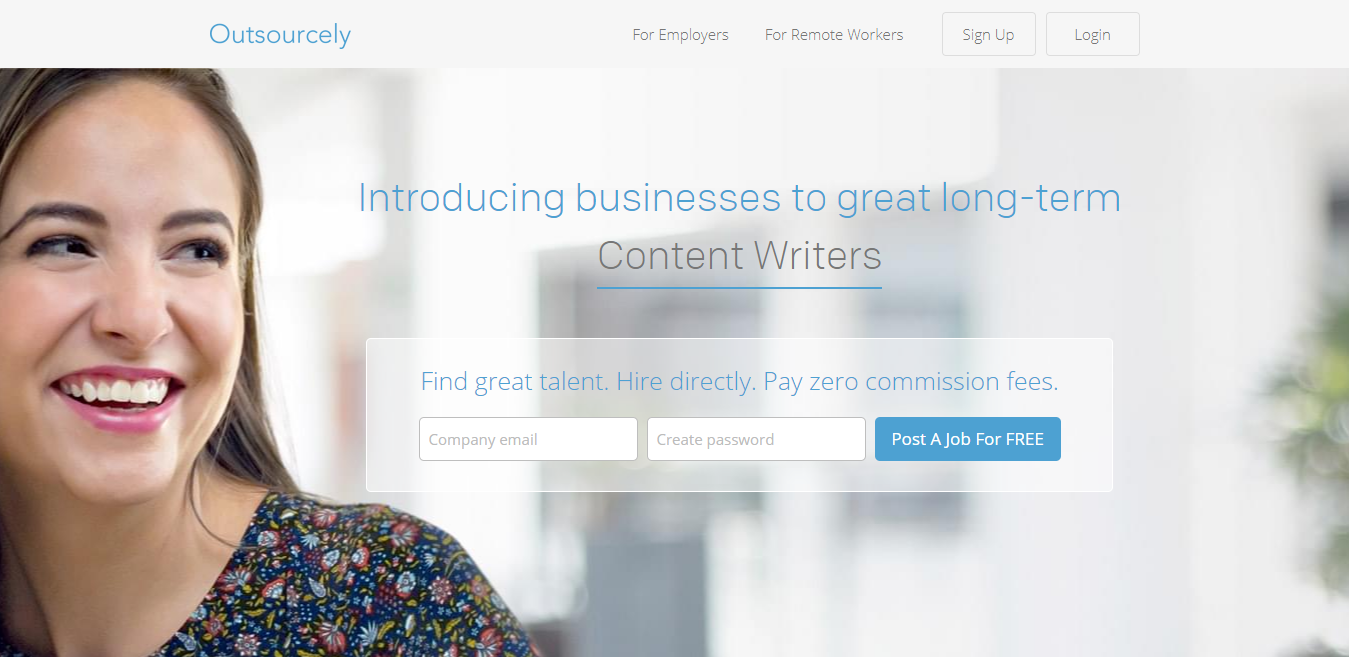 Outsourcely Homepage Screenshot (to Find Blogging Jobs)