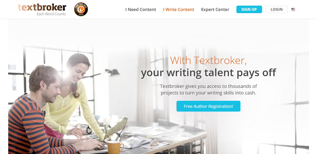 Textbroker Homepage Screenshot (of Jobs for Bloggers)