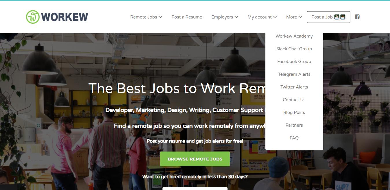 Workew Remote Blogging Jobs Screenshot (Example)