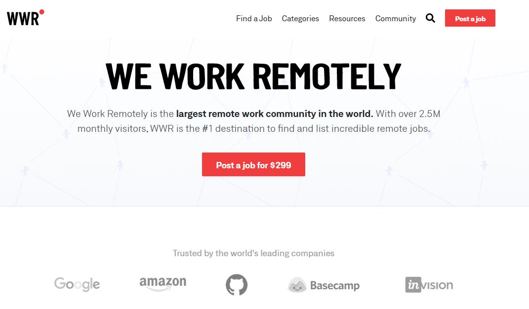 We Work Remotely Homepage Screenshot (Remote Blogging Work)
