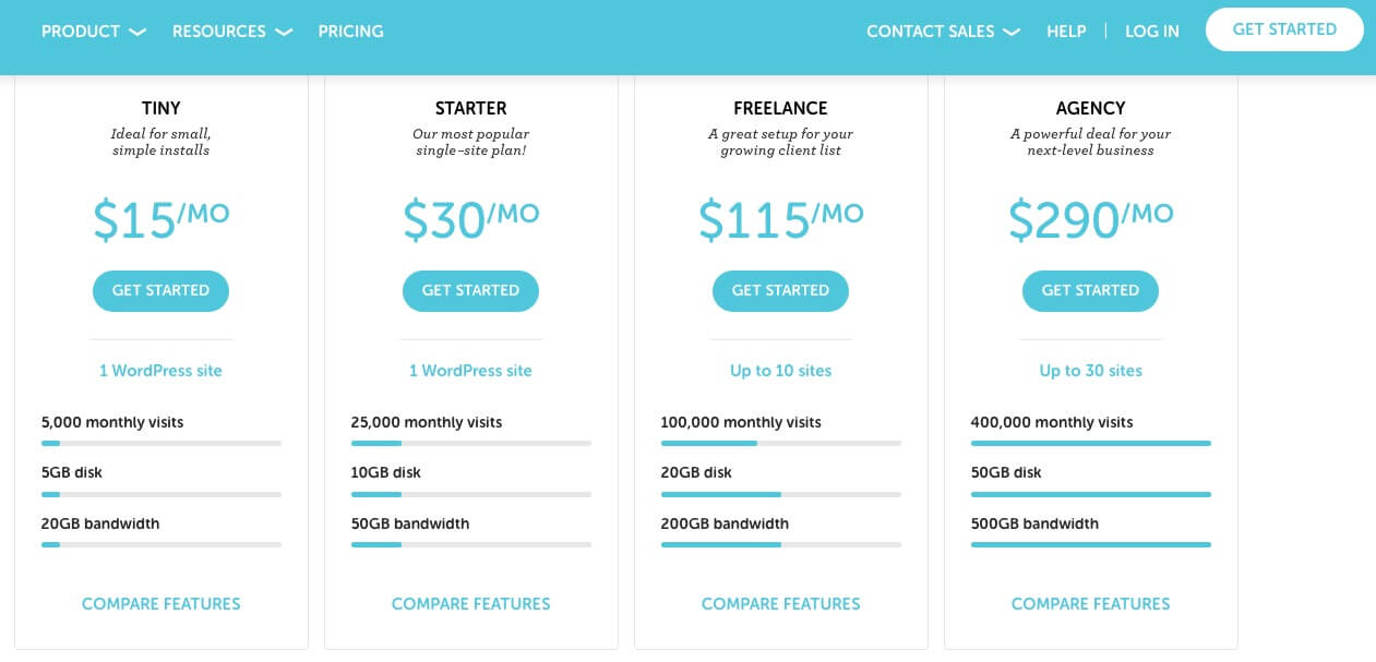 Flywhel Managed WordPress Hosting Pricing Plans (Screenshot)