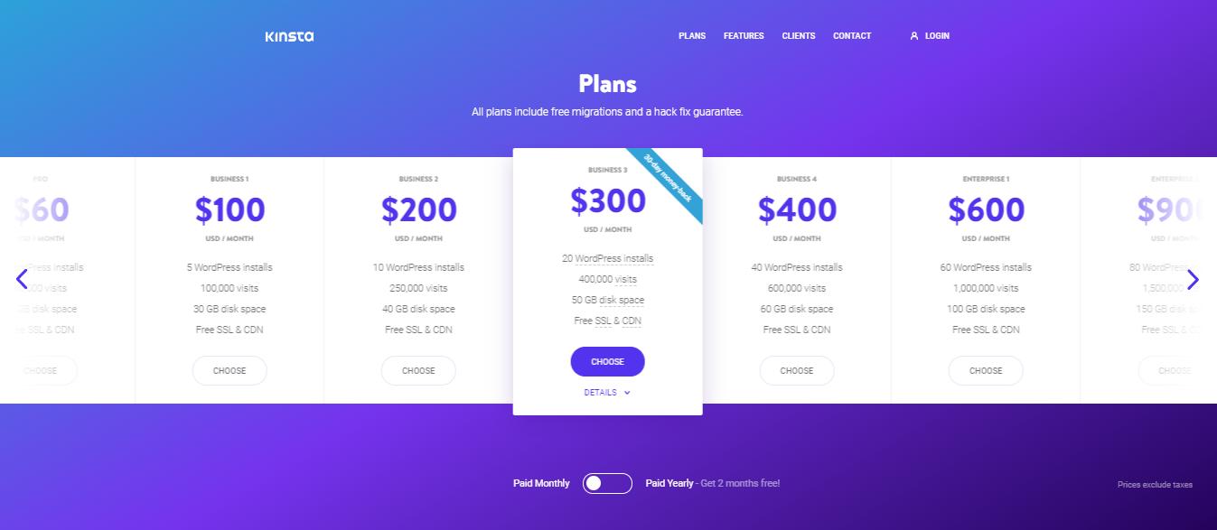 Kinsta's Managed Hosting Pricing Plans (Screenshot)