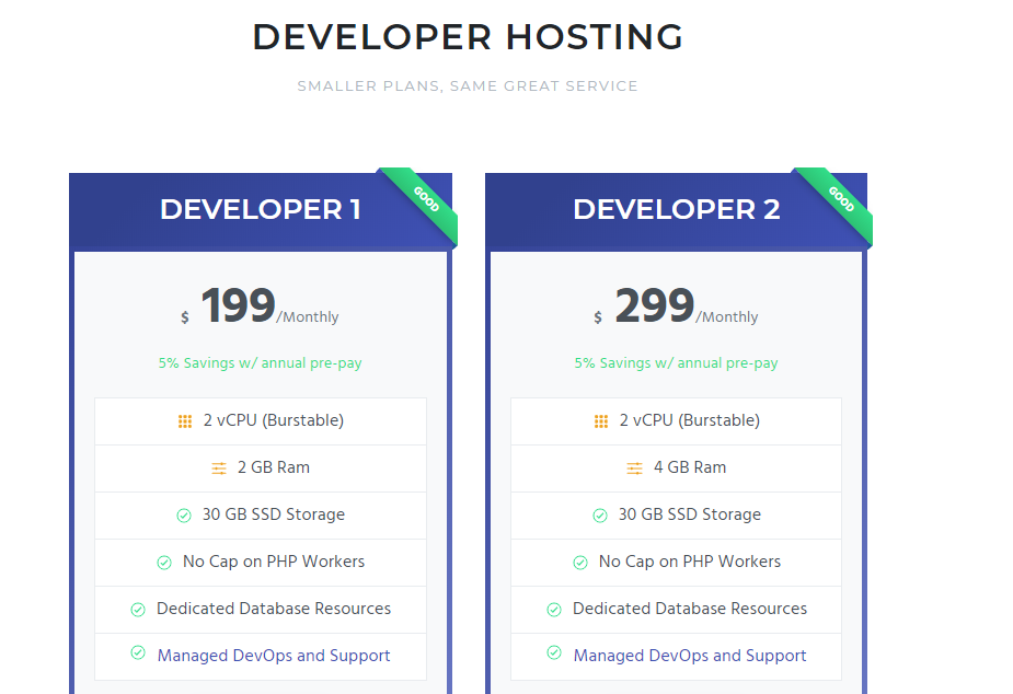 Pricing Screenshot Developer Hosting from Pagely