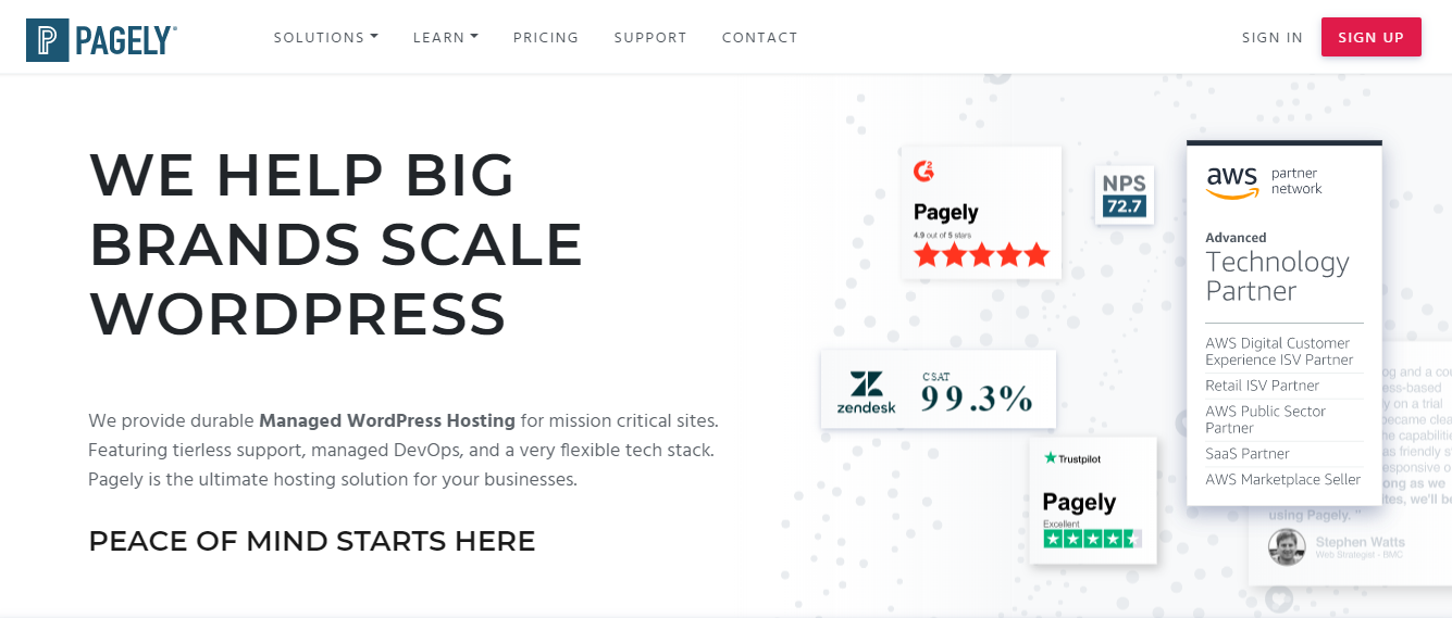 Pagely Homepage Screenshot (Managed Hosting for Big Brands)
