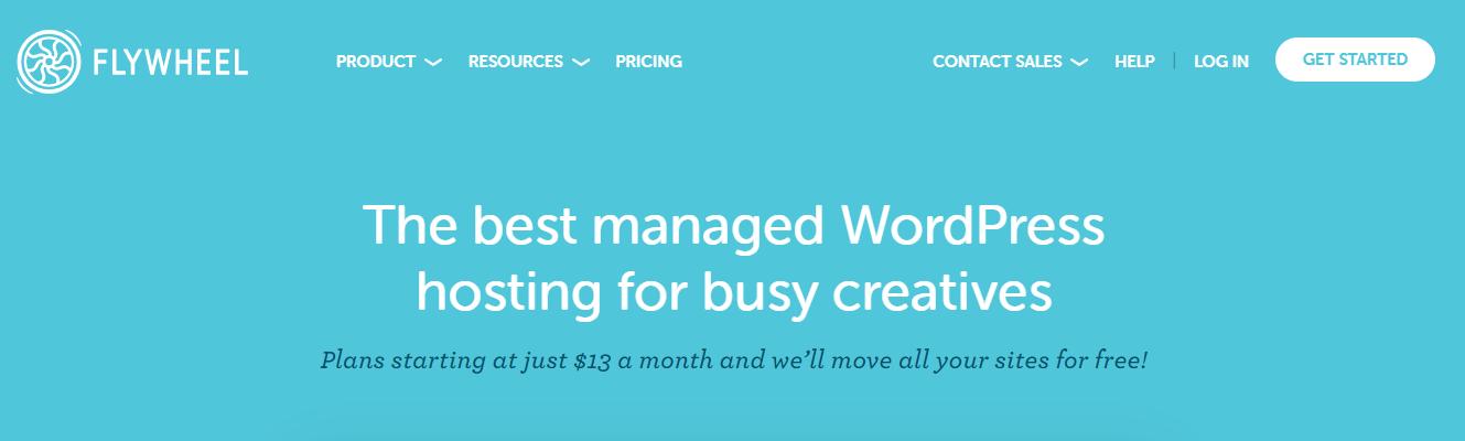 Flywheel Homepage Screenshot (Hosting Options)