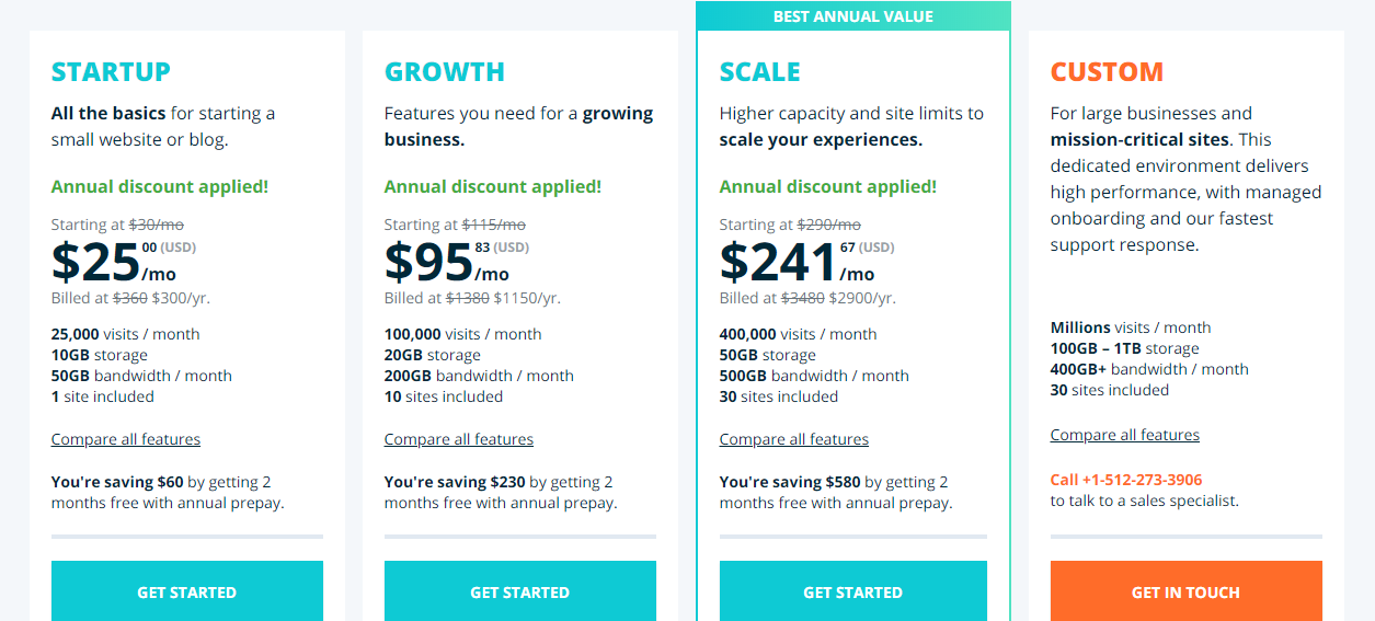 WP Engine Pricing for Managed WordPress Hosting Plans