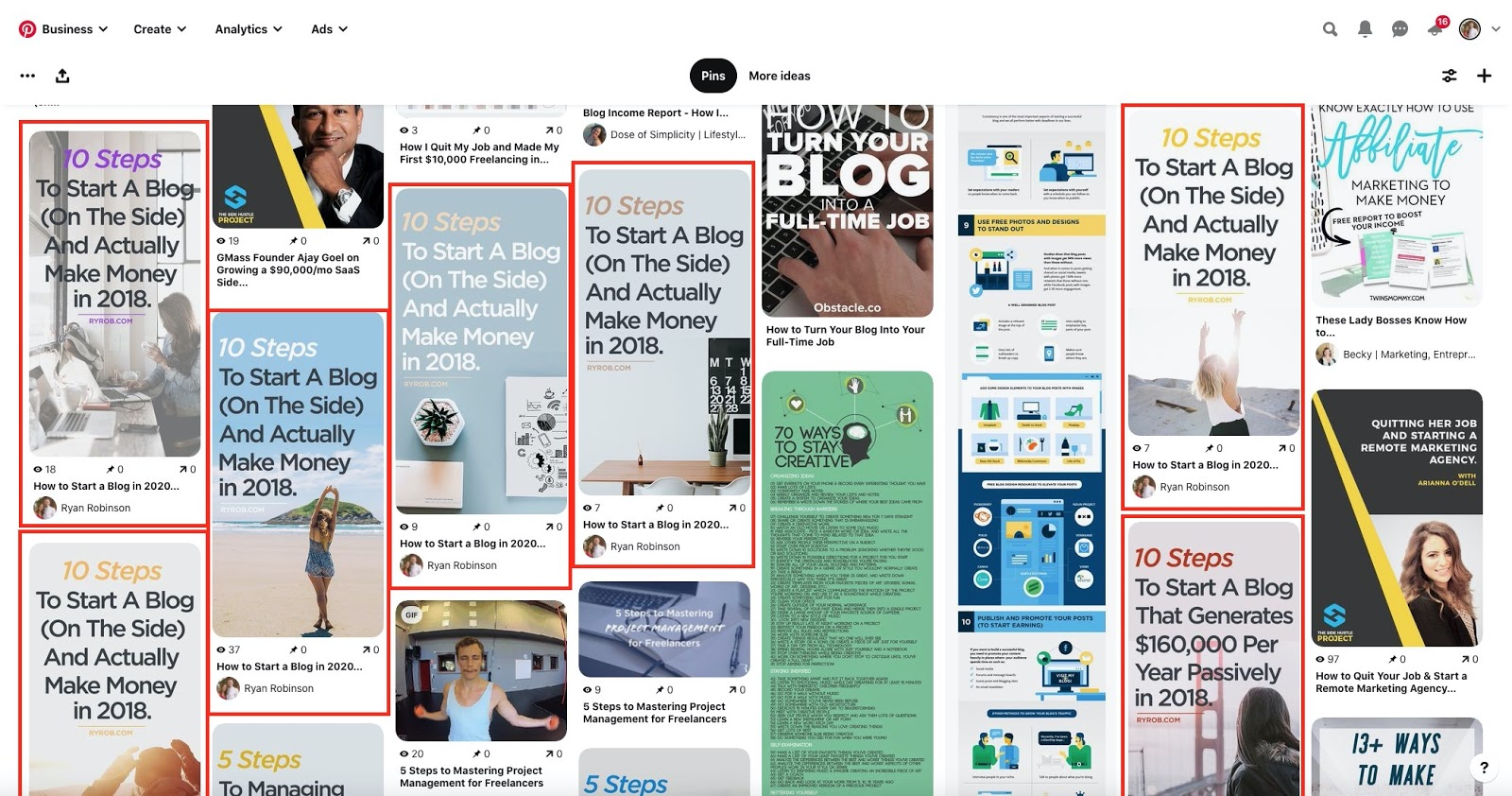 Example of Pinterest Image Variations Screenshot in How to Market Your Blog the Right Way
