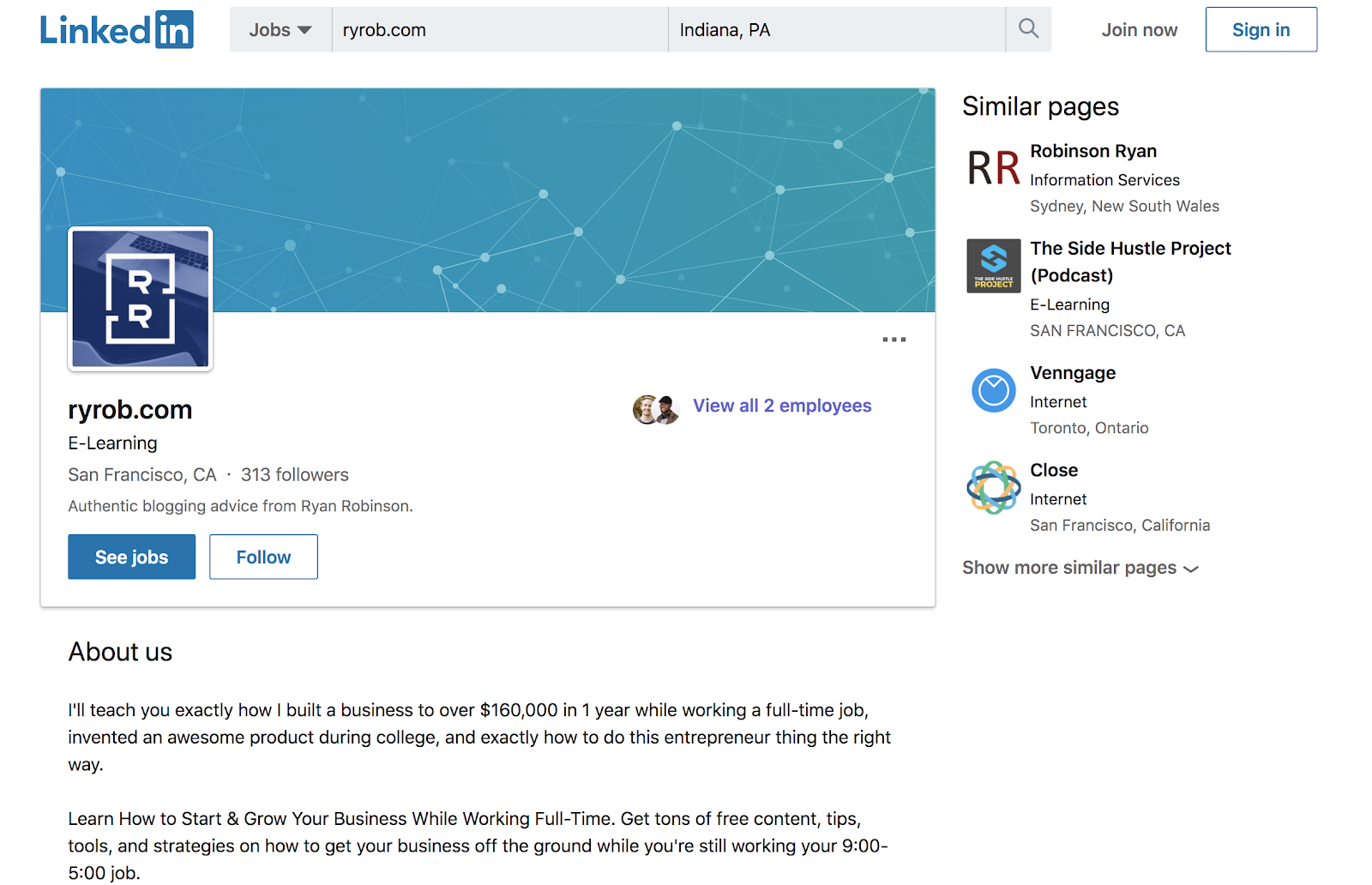 Screenshot of LinkedIn Company Pages for Blog Marketing