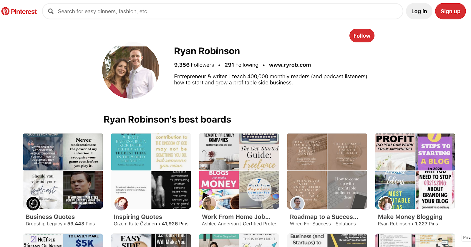 Screenshot of Ryan Robinson's Pinterest Account