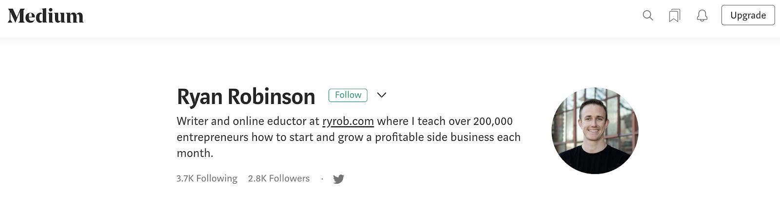 Screenshot of Ryan Robinson's Medium Account (Image)