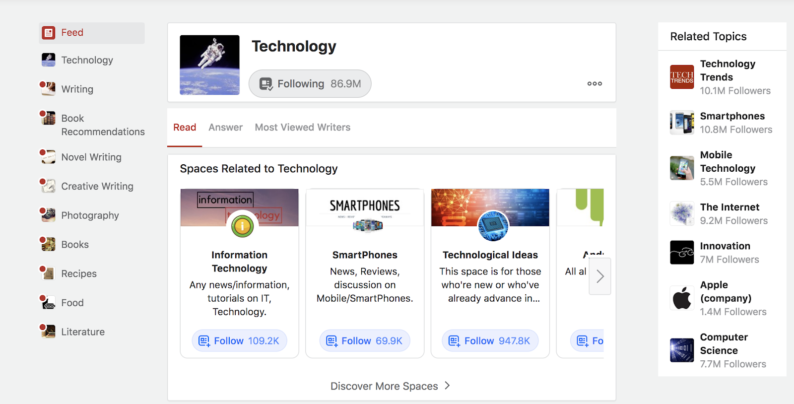 Screenshot of Quora Homepage (Examples of Discussion Forums)
