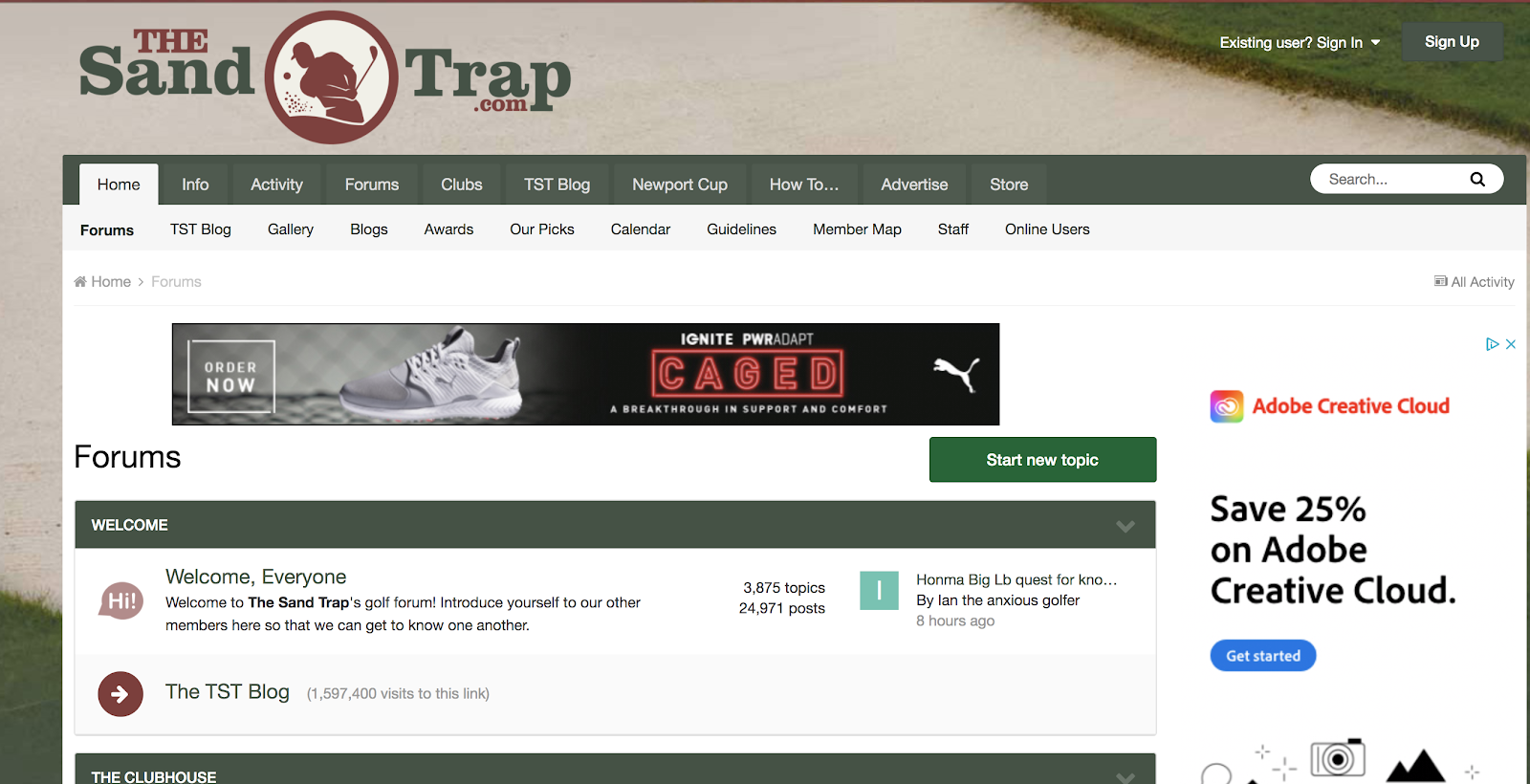 The Sand Trap Screenshot (Example of a Discussion Site for Blog Marketing Efforts)